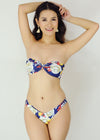 Kera Two Piece Swimwear - Blue Floral Tube Bandeau Bikini Swimwear Swimsuit