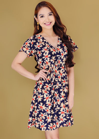 Jayne Dress Navy Blue Floral V-Neck A-Line Self-Tie Dress