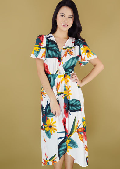 Jacey Dress - White Tropical V-Neck Self Tie Maxi Dress