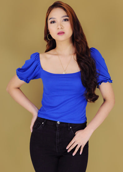Trina Top - Blue Puffed Short Sleeves Top