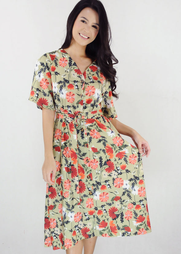 Fritha Dress Green Floral V-Neck Midi Dress