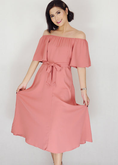 Zeshan Dress - Pink Off Shoulder A-Line Midi Dress