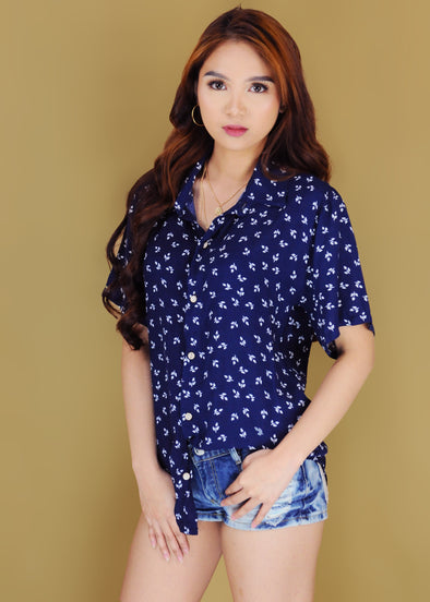 Clarissa Top - Blue Leaves Button Down Collar Sleeves Top