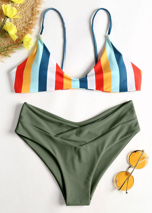 Green Mixed Striped Design Two Piece Swimwear