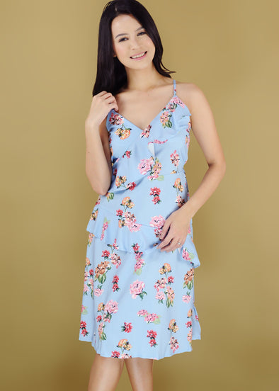 Xandra Dress Blue Floral Spaghetti Layered Midi Dress
