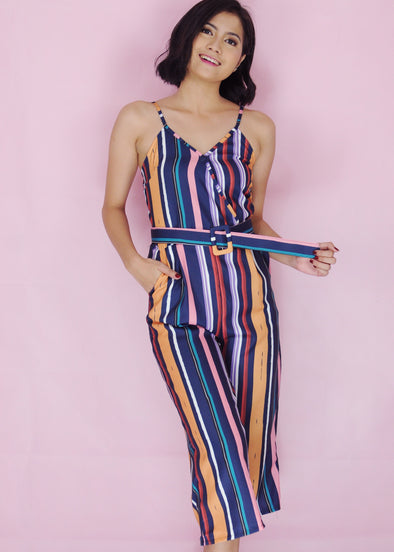 Tasmin Jumpsuit Mixed Spaghetti Striped Jumpsuit