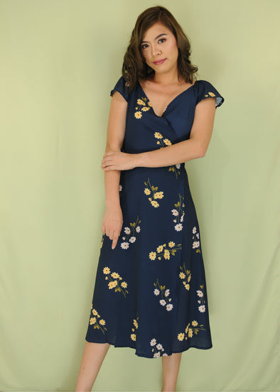 Navy Blue V-Neck Floral Midi Wrap Dress