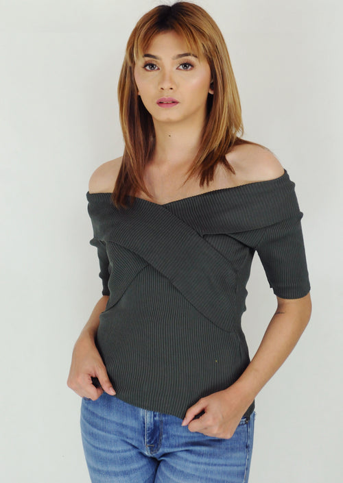 Green Off Shoulder Layered Ribbed Top