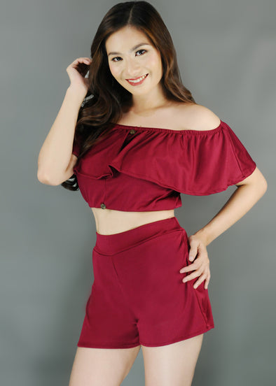 Cyra Terno - Red Off Shoulder Layered Top with Shorts