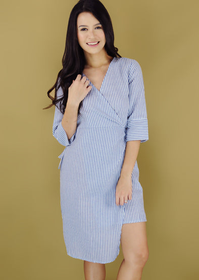 Yasmine Dress Blue Stripe V-Neck Wrap Dress