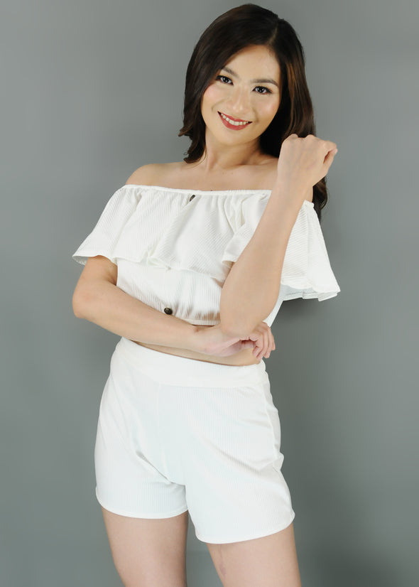 Cyra Terno - White Off Shoulder Layered Top with Shorts