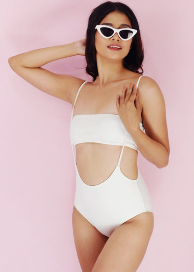 Elisha Swimwear - White String Tube Two Piece Bikini Swimwear Swimsuit