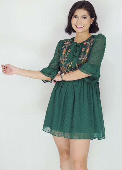 Chantal Dress - Green Floral Chiffon Lace Dress