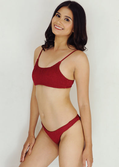 Winona Bikini - Maroon Two Piece Smocked Sexy Swimwear