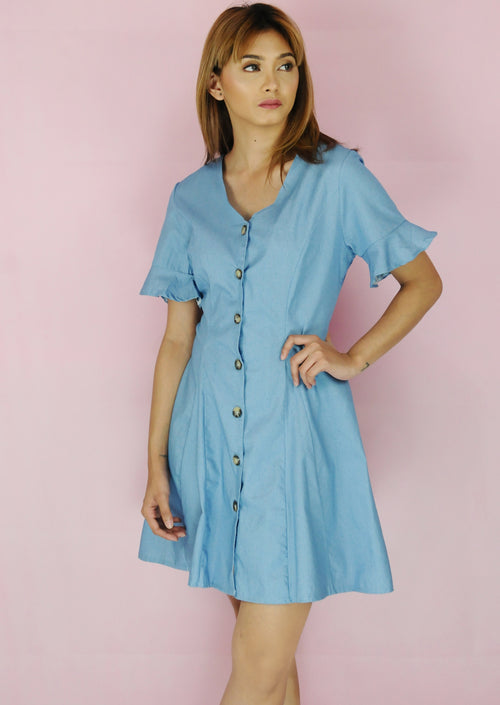 Light Denim Button Down Bell Sleeves Dress