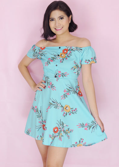 Mazie Dress Blue Off Shoulder Floral A-line Dress