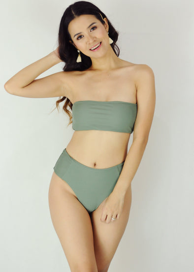 Ellie Two Piece Swimwear - Green Tube Bandeau High Waist Bikini Swimwear Swimsuit