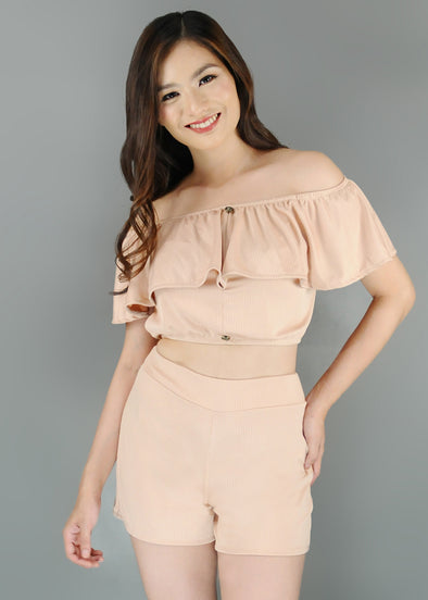 Cyra Terno - Beige Off Shoulder Layered Top with Shorts