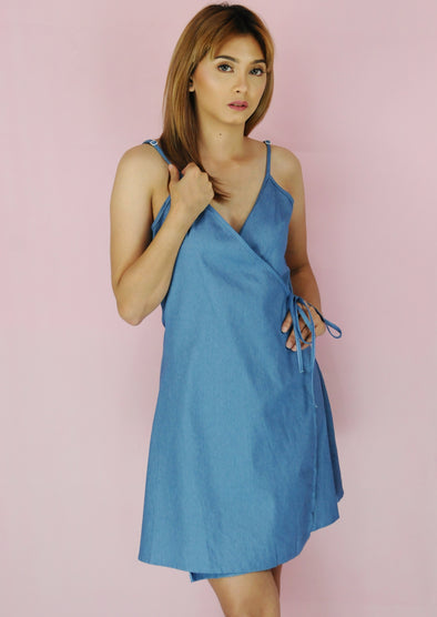 Light Denim Spaghetti Wrap Dress
