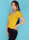 Trina Top - Yellow Puffed Short Sleeves Top