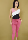 Angie Terno Patched Top with Pink Self Tie Pants