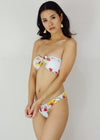 Kera Two Piece Swimwear - White Floral Tube Bandeau Bikini Swimwear Swimsuit