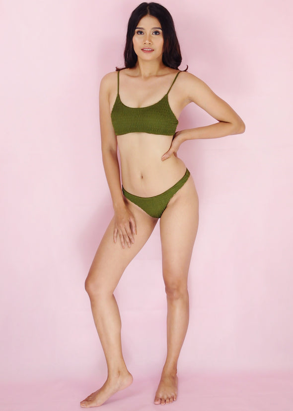 Winona Bikini - Green Two Piece Smocked Sexy Swimwear