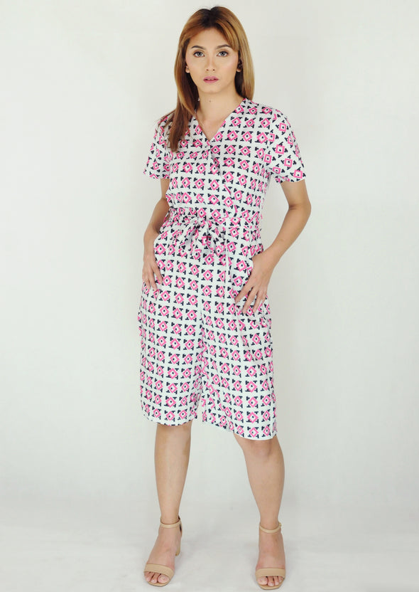 Red Geometric Pattern Short Jumpsuit