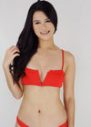Lydia Two Piece Swimwear - Red V-Wired Ribbed Two Piece Swimwear Swimsuit