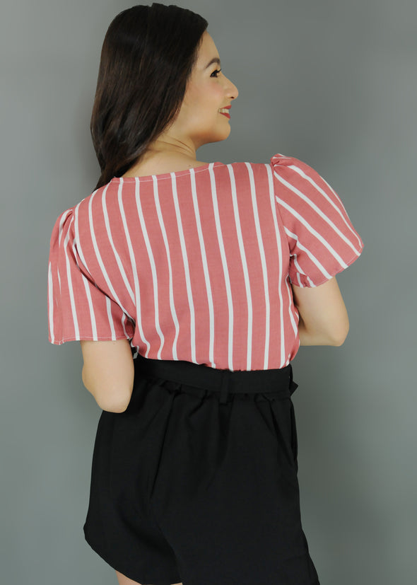 Martina Top - Pink V-Neck Stripes Button Up Top
