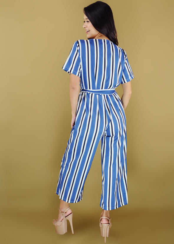 Haylie Jumpsuit Blue Stripe V-Neck Jumpsuit