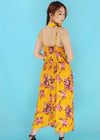 Leslie Yellow Spaghetti Plunge V-Neck Tropical Jumpsuit