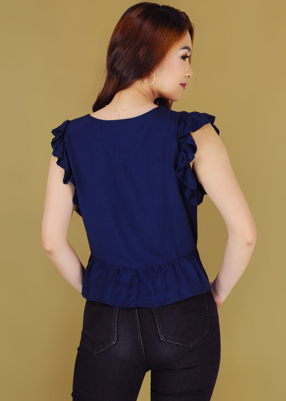 Sandra Top - Navy Blue Ruffle Sleeves Buttoned Top
