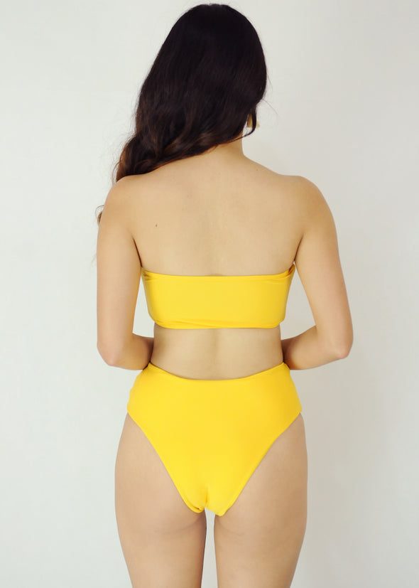 Ellie Two Piece Swimwear - Yellow Tube Bandeau High Waist Bikini Swimwear Swimsuit