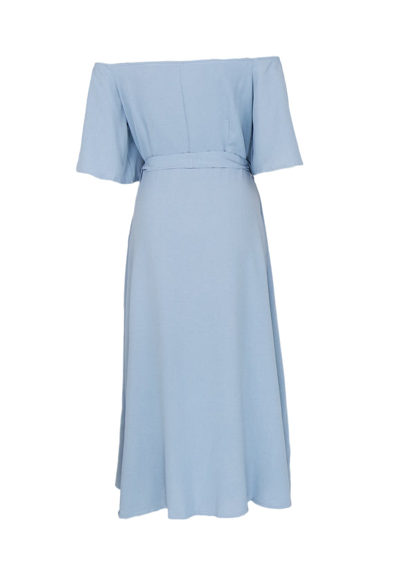 Zeshan Dress - Light Blue Off Shoulder A-Line Midi Dress
