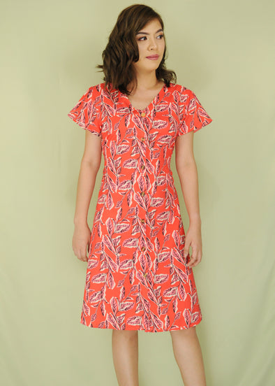 Red Button Down Leafy Pattern Dress