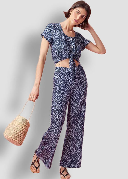 Blue Floral Pattern Button Down Crop Top with Pants