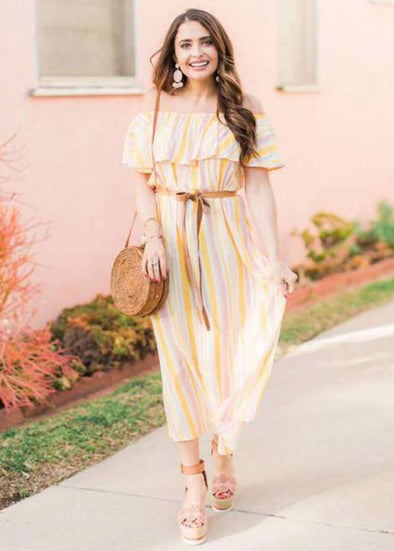 Mixed Stripes Layered Off Shoulder Maxi Dress
