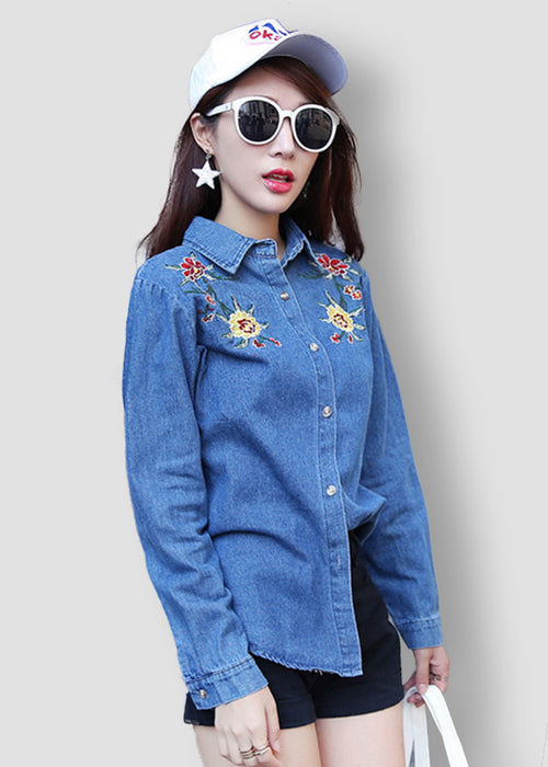 Embroidered Floral Navy Blue Button-Up Denim Top