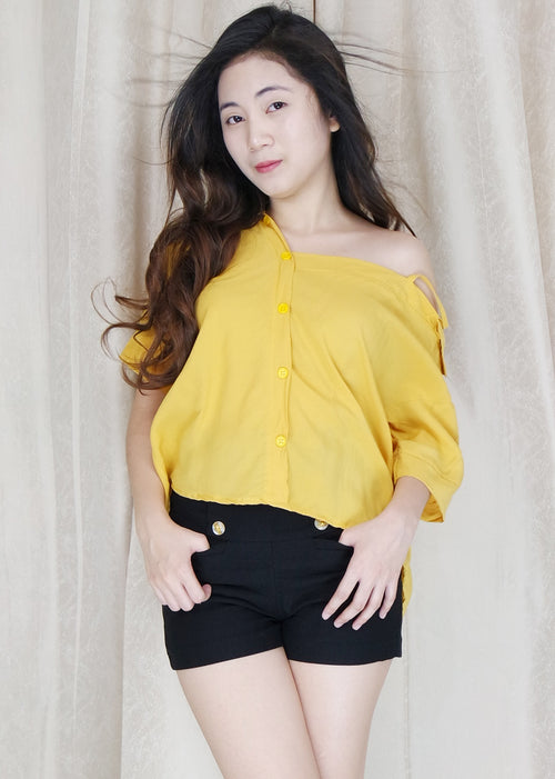 Yellow Side Strap Polo Sleeves Top
