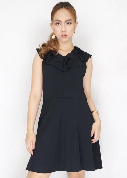 Black Ruffle V-Neck Sleeveless A-Line Dress