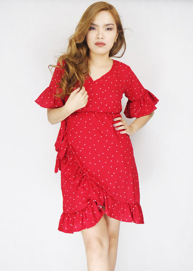 Red Polka Dots Layered Overlap Midi Dress