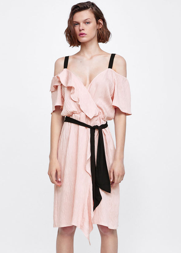 Light Pink Open Shoulder Ruffle Self Tie Dress