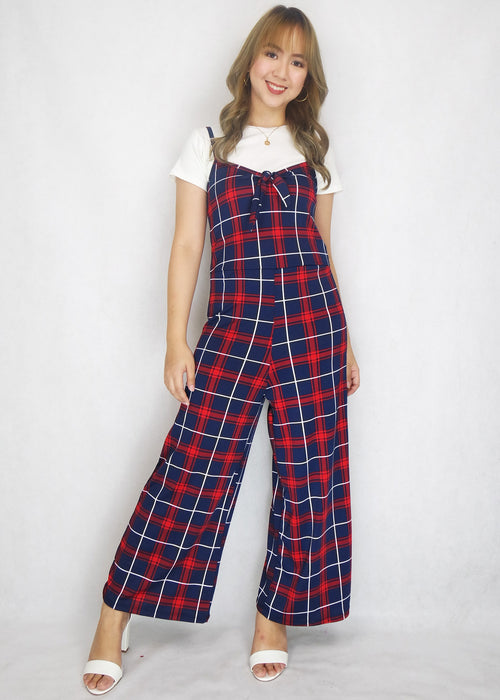 Blue Red Checkered  Spaghetti Jumpsuit with Inner