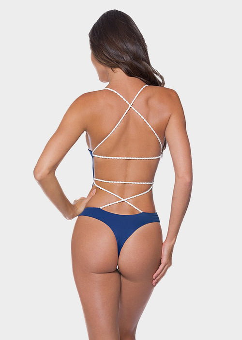 Navy Blue Plain Criss Cross One Piece