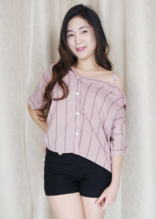 Pink Stripes Side Strap Polo Sleeves Top