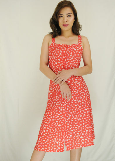 Red Small Flowers Button Down Sleeveless Dress