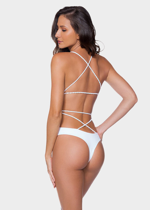 White Plain Criss Cross One Piece