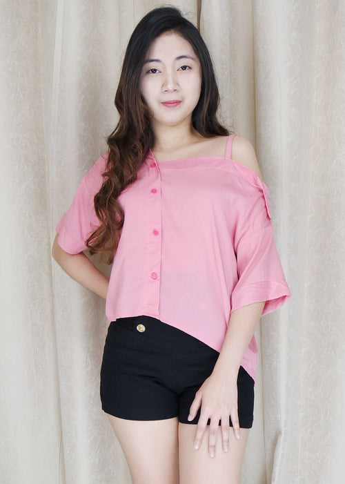Pink Side Strap Polo Sleeves Top