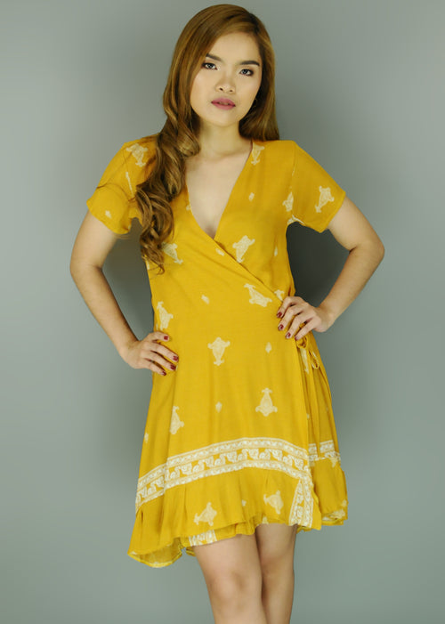 Yellow Paisley Layered Wrap Dress